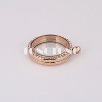 Wholesale 30mm magnetic closure rose gold L stainless steel floating charm lockets with crystals