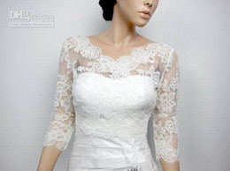 Wholesale Cheap Green Ribbon - 2015 lace bridal white lace wedding dresses bridal jacket 3 4 long sleeve free shipping custom made high quality cheap simple