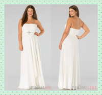Wholesale Ivory Full Figure Plus Size Dress Summer Sexy Strapless Ruffle Chiffon A Line Beads Zipper Ankle Length Graduation Dresses DX602