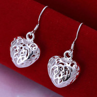 Hoop & Huggie Silver South American E021 Wholesale ! factory price 925 silver earrings, 925 silver fashion jewelry, Small Solid Heart Earrings