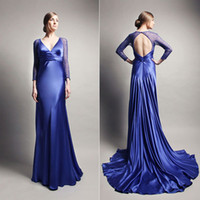 Long blue deep v-neck satin evening dress