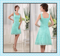 Reference Images Lace Square FX Wow!! 2O14 Charming Square Neck Spaghetti Strap Homecoming Dresses Arrivals Knee Length Lace Graduation Prom Dress Zipper Back In Stock