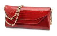 Wholesale NEW BRAND Croc Embossed Leather Women Wallet Card Bag Lady Purse Full Genuine Leather With Zipper and Chain Double Lids Black Red S2001