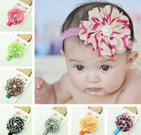 Wholesale Baby Girls Kids Chevron Hair Bands Lace Chiffon Sparkling Rhinestone Floral Pearls Flowers Infant Children Hair Accessories Headbands D2462