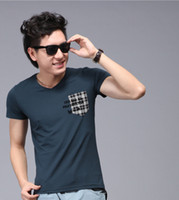 Wholesale Men s Short Sleeve T shirt V neck Slim Fashion Factory Direct Selling High Quality Grey and Blue Colors Size M L XL XXL a