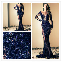 Wholesale 2014 Ziad Nakad Blue Luxury Mermaid Evening Gowns Prom Dresses Vintage Sheer Neck Scoop Beads Appliques Illusion Back Sequins Custom Made