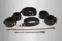 Wholesale Handcuffs and Leg irons Collar Restraint BDSM Bondage Gear Leather Neck Harness Sex Products