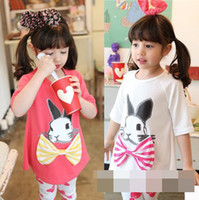 Summer Children Girl Sets Long Length Middle Sleeve Rabbit P...
