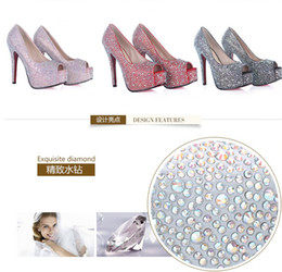 Wholesale Hot Sales Rhinestone Crystal Fish Mouth Bridal Bridesmaid Luxury High Heels Party Prom Shoes Wedding Women s Dress Shoes DL1311222
