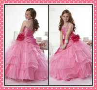 Girl christmas flower pick - Halter Neck Girl pageatn Dresses Beaded Flower Sash Tiers Picks up Sweep Trian Satin Organza Open Back Children Prom Gowns Christmas WX