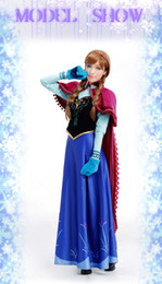 Wholesale Frozen Anna dress Movie cosplay Costume custom made XS XXL Halloween Christmas party whole set