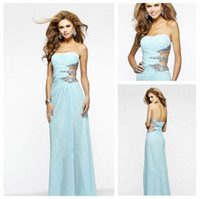 Reference Images Strapless Chiffon Faviana 7304 Aqua Long Sequin Cutout Prom Dresses 2014 Sexy Backless Floor Length Sheath Formal Evening Dresses E329