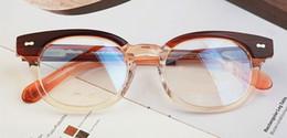 Wholesale AOJO round glasses frame Tea color Black and blue glasses frame glasses frame Johnny Depp