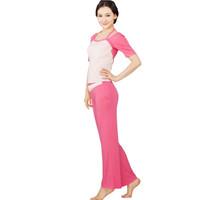 Wholesale 95 viscose spandex peach pink top rose red pant dance fitness clothes yoga fitness yoga clothes fitness yoga suit
