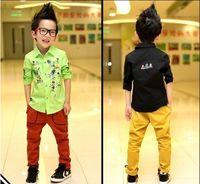 Wholesale 2014 New Spring Boy s Shirt Hit Skull Cartoon Printing Button Long Sleeve Turn Down Collar Shirts Black Green Tops Boys Kids Clothing F0310