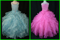 Reference Images Girl Sequins Shining2014 Hot Flower Girls' Dresses Crystal Princess for Little Girls Ball Gown Halter Zipper Organza Pick-ups Tiered Piping Peplum Ribbon