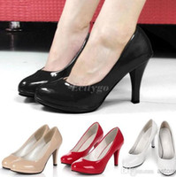 Wholesale 2014 Stiletto High Heels Office Dress Work Court Platform Pumps Shoes Black Red Colors Ex24