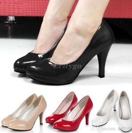 Wholesale Stiletto High Heels Office Dress Shoes Work Court Platform Pumps Shoes Black Red Colors Ex24