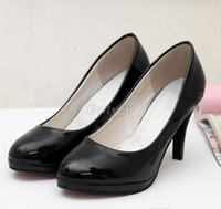 Wholesale 2014 Good Quality Ladies Stiletto High Heels Office Dress Work Court Platform Pumps Shoes Black Red Colors Ex24