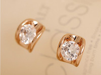 Stud best friends cute - European Jewelry Zircon Crystal Stud Women Cute Charming Rose Gold Gold Plated Stud Best Gift For Girl Friend With Retail Package