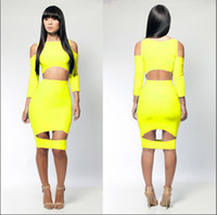 Clubwear Cut Out Spandex Wholesale - 2014 Sexy Lingerie Club Wear Stage Wear Celebrity Bandage Bodycon Dresses 4016 Yellow