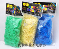 8-11 Years Multicolor Silicone loom bands flash powder rubber loom bands bracelets for kids diy bracelets rubber bands for loom bracelets 600 bands with clips promot