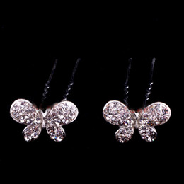 10pcs lot Red White Crystal Butterfly Hair Clips Wedding Accessories Fashion Jewelry XN0314
