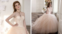 Wholesale Atelier Aimee Champange Sweetheart Tulle and Lace Wedding Dresses A Line Brush Train Elegant Backless Corset Bridal Gowns Ruched