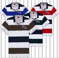 Wholesale 2014Summer Brand New For Men s Short Sleeve T shirt Cotton Male Striped Classic Men s Of Embroidery Clothing