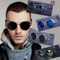 atlas glass - Designer Inspired Atlas Steampunk Round Metal Men Sunglasses w Side Shields Woman glasses