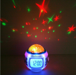 Wholesale maxi Music Starry Alarm Projection Clock Star Sky Calendar Thermometer with retail package creative clock Dropshipping Best gift