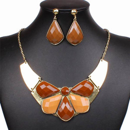 Wholesale Coffee Resin Bubble Bib Statement Earrings Necklace Set Fashion Antique Bronze Jewelry Sets for Party Dance Show GJF4