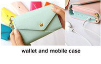 Wallets Women PU Free Shipping Women's Multi Propose envelope Wallet Purse handbag for Galaxy S2 S3 iphone 4 4S 5 Case WA-12