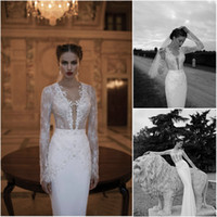 Trumpet/Mermaid Reference Images V-Neck 2014 Ivory Mermaid Wedding Dresses Satin Lace V Neck Long Sleeves Applique Sequin Beaded Full Length Bridal Gowns Berta 1403