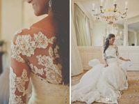Wholesale 2014 long sleeve lace wedding dresses bridal jacket custom made cheap hot sale