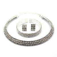 Wholesale 2014 New Bridal Wedding Jewelry Exquisite Glitter Diamond Crystal Necklace Earrings Bracelets Bangles Jewelry Set JS149