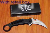 Wholesale Fox Karambit Folding blade knife Cr13 steel G10 handle camping rescue hunting outdoor gear knife knives