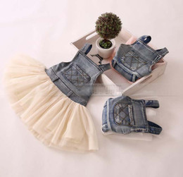Wholesale New Children s Clothing Washed Denim Kids Jeans Suspender Dress Lace TUTU Tiered Tulle Strap Dresses Baby Girls s Cowboy Party Dress C1749