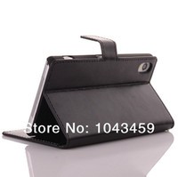 Wholesale Crazy Horse Leather Case For Sony Xperia Z2 D6503 Cover With Stand