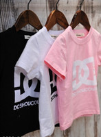 Wholesale Casual Summer Children Girls White Pink Black Short Sleeve T Shirts DC Letter Printed T Shirt Toddler Girl s Kids Kid Child Clothing F0315