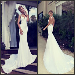 Wholesale Nurit Hen Spaghetti Strap Backless Wedding Gown Beaded Appliques Lace Ruffled Garden Church Empire Open Back Mermaid Wedding Dresses
