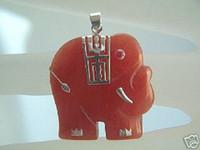 Pendant Necklaces Women's Pendants wholesale --------925 Sterling Silver Red Jade Elephant Necklace Pendant