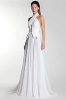 Halter basil purple ruffles - Basil Soda Halter Long Chiffon Evening Dresses Pleat Party Prom Gown