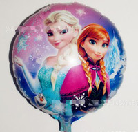 Wholesale 100pcs Cartoon Princess Elsa Anna Froze Aluminum Blowing Balloon For Children Days Party Decoration Kids Gifts B3317