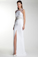 Basil Soda 2014 White Color High Leg Long Chiffon Formal Eve...