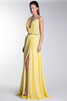 Basil Soda 2014 Unique Design Sheer Strap Pleat Long Yellow ...