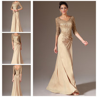 Wholesale Modest Sheer Lace Half Sleeves Champagne Gold Evening Formal Gown Chiffon Floor Length V Neck Party Prom Dresses ED9325