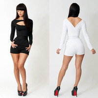 Polyester Long Sleeve Capris 2014 Bandage Dress Women New Fashion Sexy Long Sleeve Spring White and Black Patchwork Celebrity Bodycon Bandage Jumpsuit KM034