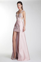 Basil Soda 2014 Deep V- Neck High Low Formal Evening Dresses ...