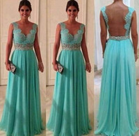 Wholesale 2014 Sheer Straps Backless Long Prom Formal Gown Beaded Waist Appliques Lace Ruched Hunter Chiffon Plus Size Evening Prom Graduation Dresses